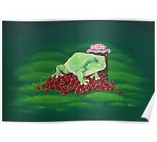 Jamming - frog and cherries Poster