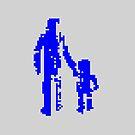 1 bit pixel pedestrians (blue) by Pekka Nikrus