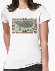 Bird's-eye view of Saint Louis in 1896. Womens Fitted T-Shirt
