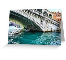 Classic Venice - A Gondola Under Rialto Bridge  Greeting Card