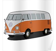 VW type 2 T1 microbus brown Poster