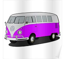 VW type 2 T1 microbus purple Poster