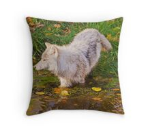 Water Wolf Throw Pillow