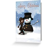 Christmas Card - Merry Christmas With Snowman  Greeting Card