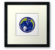 Rugby Player Running Passing Ball Circle Retro Framed Print