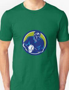 Rugby Player Running Passing Ball Circle Retro Unisex T-Shirt