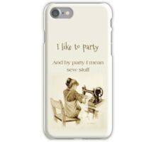 Love Sewing, Drawing of Girl At Machine, Humor, Art iPhone Case/Skin
