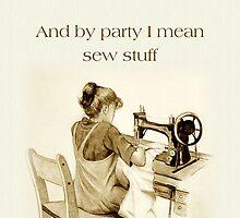 Love Sewing, Drawing of Girl At Machine, Humor, Art by Joyce Geleynse