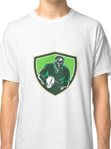 Rugby Player Running Passing Ball Crest Retro Classic T-Shirt