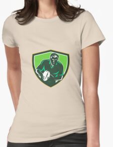 Rugby Player Running Passing Ball Crest Retro Womens Fitted T-Shirt