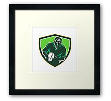 Rugby Player Running Passing Ball Crest Retro Framed Print