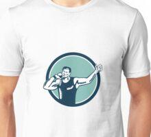Shot Put Track and Field Athlete Woodcut Unisex T-Shirt