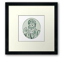 Sikh Guru Priest Waving Etching Framed Print
