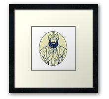 Sikh Priest Praying Front Oval Etching Framed Print