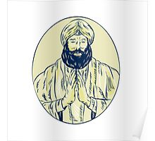 Sikh Priest Praying Front Oval Etching Poster