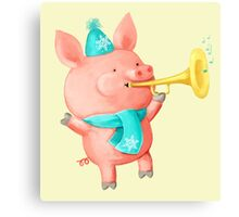 Cheering Cute Pig for Christmas Canvas Print