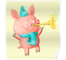 Cheering Cute Pig for Christmas Poster