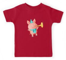 Cheering Cute Pig for Christmas Kids Tee