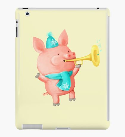Cheering Cute Pig for Christmas iPad Case/Skin