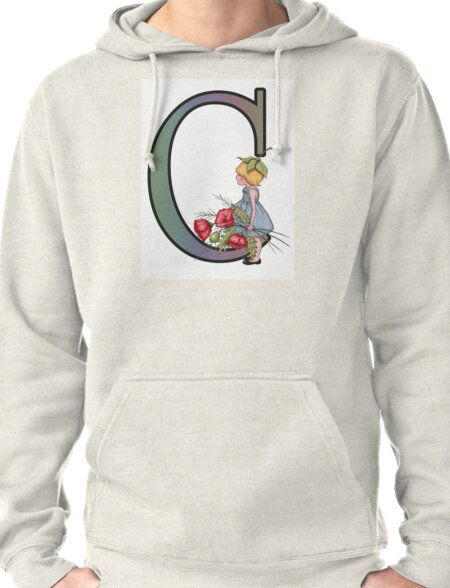 Initial C, Alphabet Letter, Girl with Poppies, Color Pencil Art Pullover Hoodie