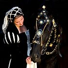 Model in Costume  with Friesian Horse by Dency Kane