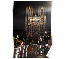 Reims Cathedral in the rain Poster