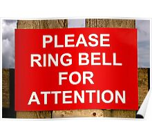 Red and white ring bell sign Poster