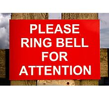 Red and white ring bell sign Photographic Print