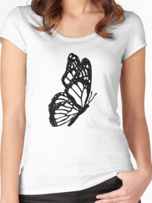 Black and White Butterfly Women's Fitted Scoop T-Shirt