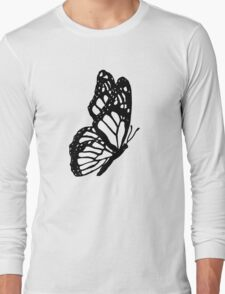 Black and White Butterfly Long Sleeve T-Shirt