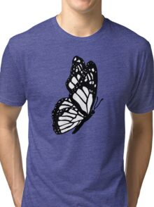 Black and White Butterfly Tri-blend T-Shirt