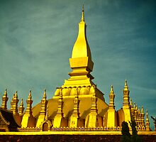 Laos Temple by Jerry Schlagheck