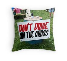 Glastonbury 'Don't drive on the grass' Throw Pillow
