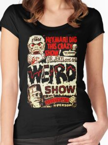 Dr. Jekyl and His Weird Show, Featuring Frankenstein Horror Vintage Women's Fitted Scoop T-Shirt