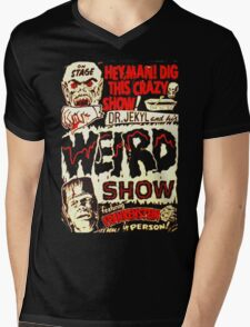 Dr. Jekyl and His Weird Show, Featuring Frankenstein Horror Vintage Mens V-Neck T-Shirt