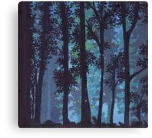 Twilight Woods and Fireflies. Canvas Print