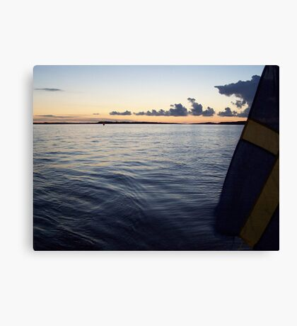 Swedish Flag Trailing Behind Our Sailboat - Gothenburg, Sweden Canvas Print