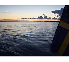 Swedish Flag Trailing Behind Our Sailboat - Gothenburg, Sweden Photographic Print