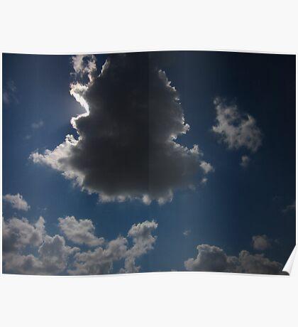sun shining around cloud Poster