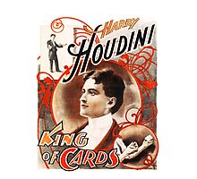 Harry Houdini Master of Cards Vintage Photographic Print