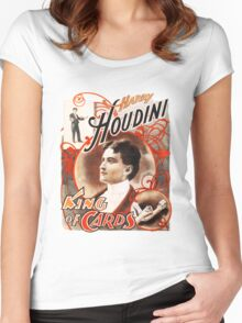 Harry Houdini Master of Cards Vintage Women's Fitted Scoop T-Shirt