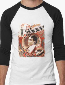 Harry Houdini Master of Cards Vintage Men's Baseball ¾ T-Shirt