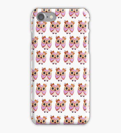 Cute girly pink orange white owl pattern  iPhone Case/Skin