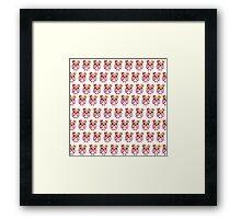 Cute girly pink orange white owl pattern  Framed Print