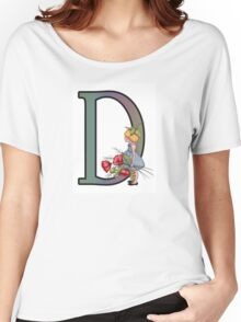 Intial D, Girl with Poppies, Color Pencil Monogram Art Women's Relaxed Fit T-Shirt