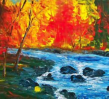 Autumn River Acrylic Impressionism by William  Boyer