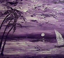 Purple Boat Acrylic Abstract Impressionism by William  Boyer