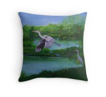 Blue Heron in Florida Throw Pillow