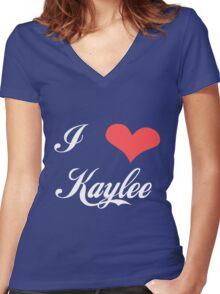 Firefly: I Heart Kaylee for Dark Backgrounds Women's Fitted V-Neck T-Shirt