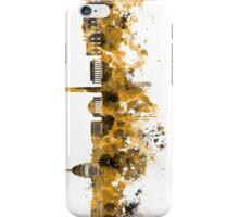 Washington DC skyline in orange watercolor on white background  iPhone Case/Skin